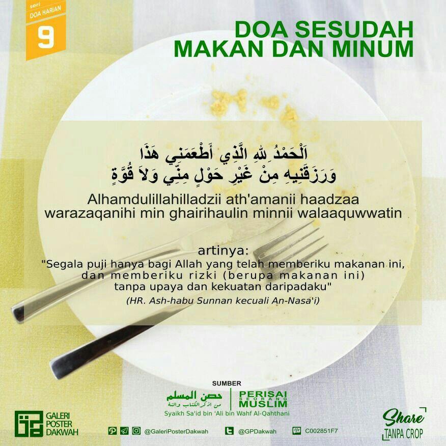 09 Doa Sesudah Makan Dan Minum Doa Makanan Agama