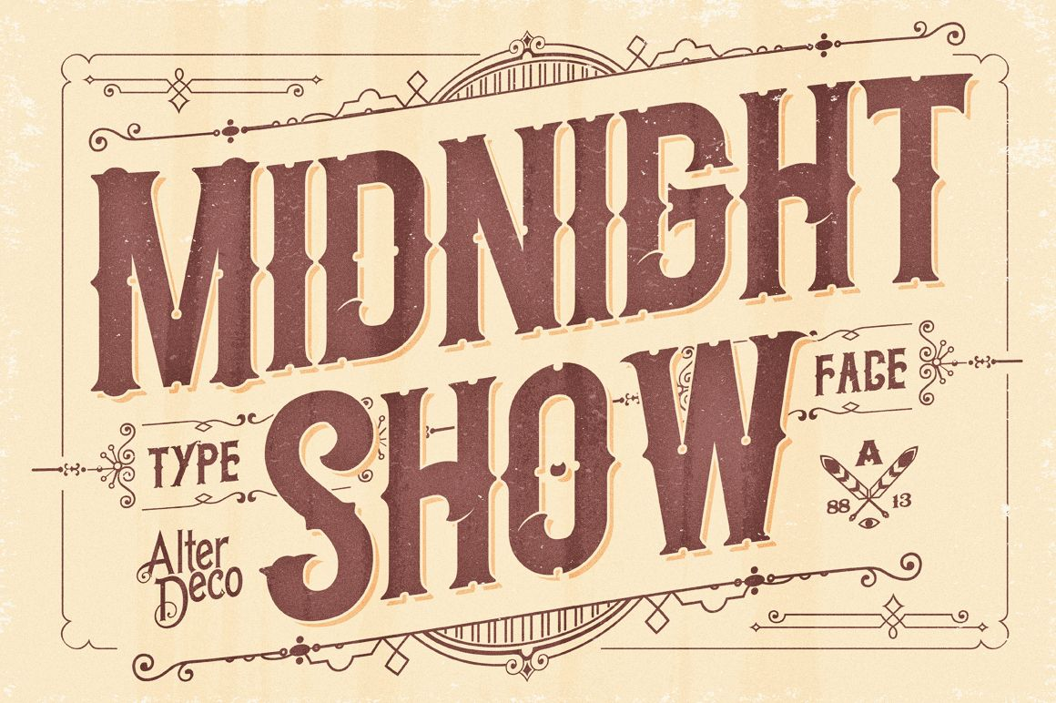 Midnight Show typeface | Vintage labels, Creative and Midnight show