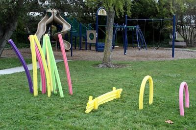 Pool Noodle Obstacle Course Hurdles To Jump Over Tunnels To
