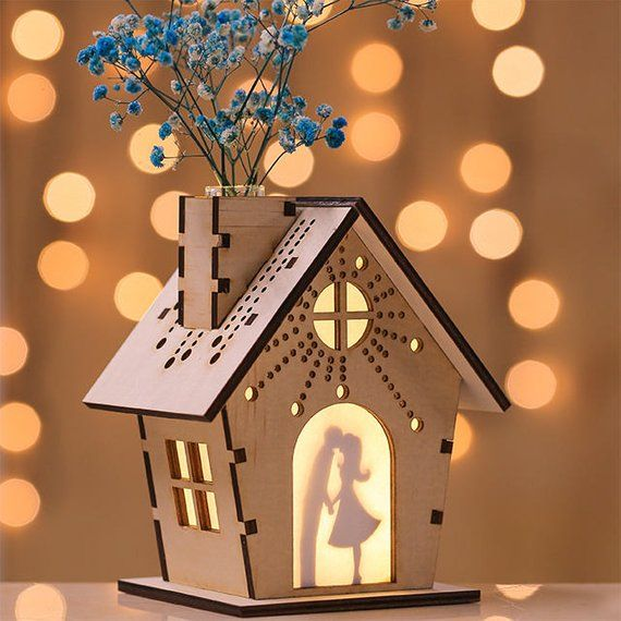 Wooden Miniature Vase Night Light Lithophane Table Lamp / Custom Photo Picture Frame / Dry Flower Home Fragrance Diffuse / Laser Cut Cutter