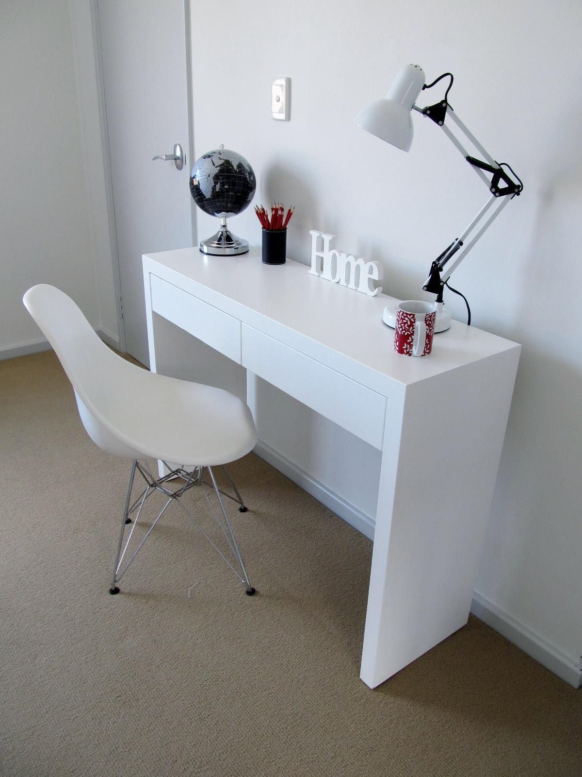 Bedroom study table and chair white desk chair white