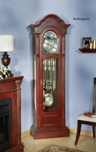 The Buckingham Grandfather Kit Grandfather Movement Sold Seperately. Half-Round Reeded Split Columns. Antique Brass Hardware. Wood: North American Red Oak. Finished Size: 84 13/32H x 26 1/2W x 14 9/16D.  #Klockit #Home
