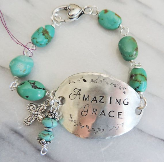 """Handcrafted, Handstamped Silver Spoon """"Amazing Grace"""" Bracelet with Turquoise Nuggets"""