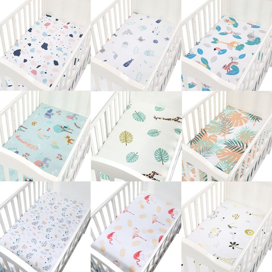 100 Cotton Crib Fitted Sheet Soft Baby Bed Mattress Cover Protector Elastic Bed Sheet Cartoon Newborn Bedding Woven Bed Sheets Newborn Bed Baby Cribs Baby Bed