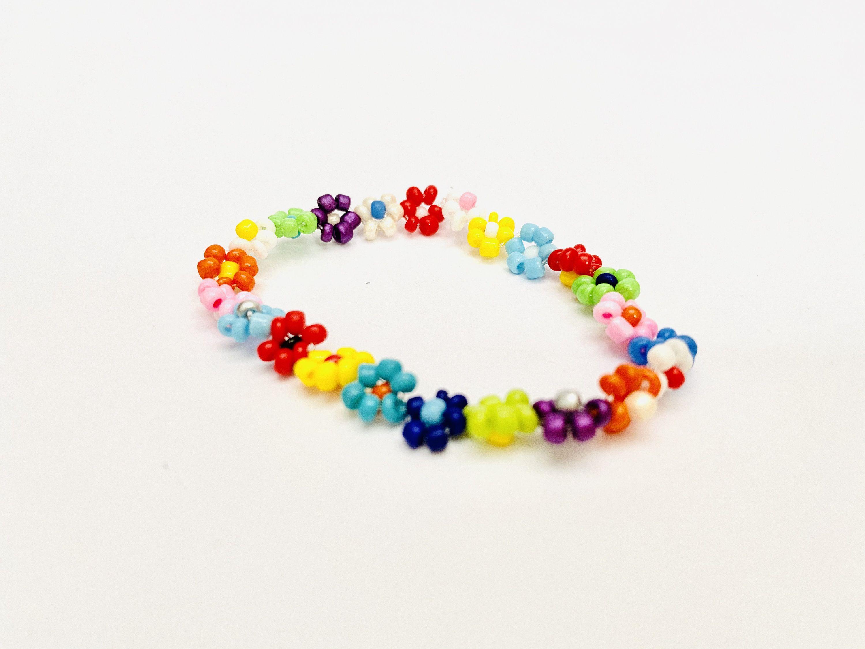 Handmade Colorful beaded flowers Anklet