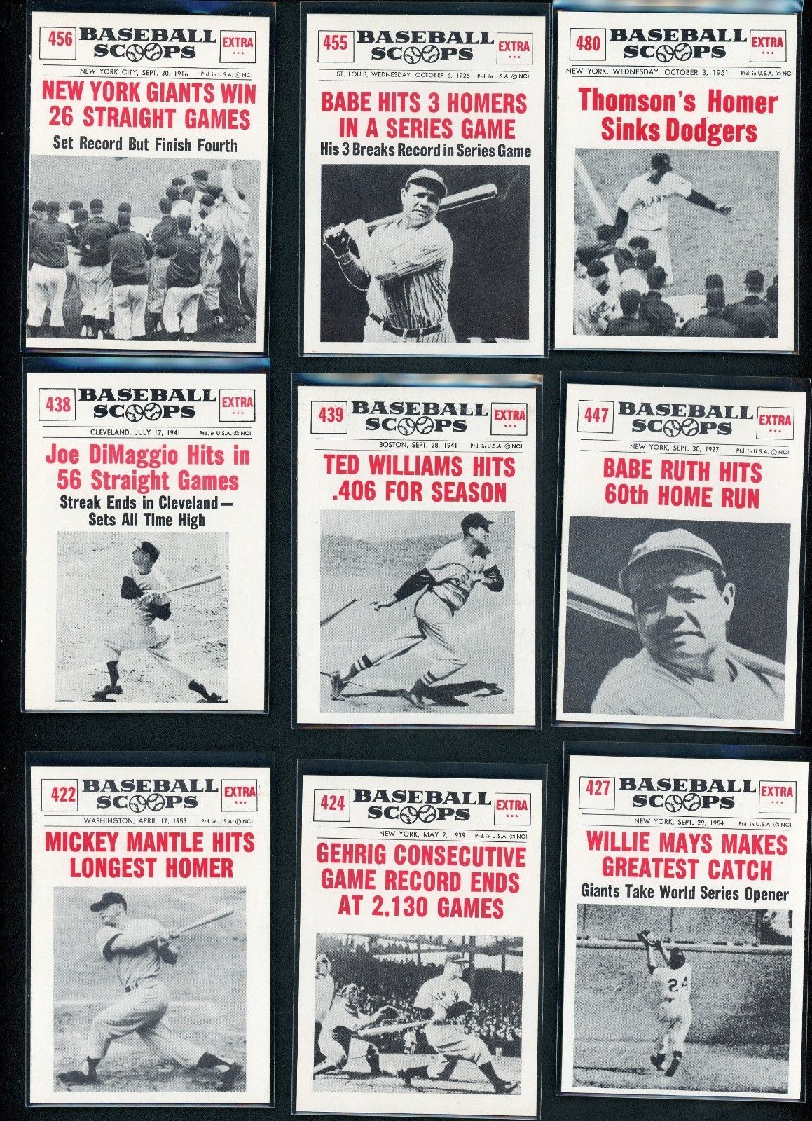 1961 Topps Nu Card Scoops Complete Set 8080 High Grade