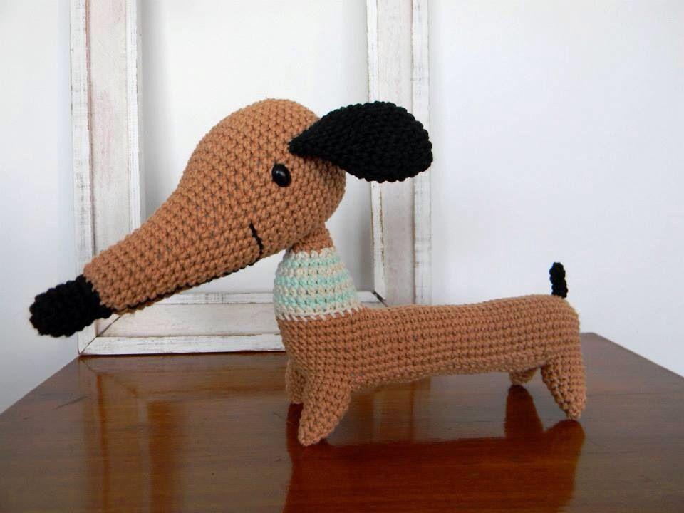 Único Ganchillo Modelo Del Perro Salchicha Componente - Manta de ...
