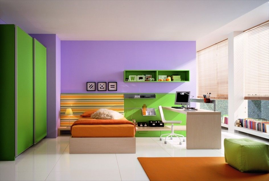 http://sandavy.com/enchanting-green-color-concept-bedrooms-color-design/bedroom-color-green-wall-green-big-cupboard-purple-top-wall-white-roof-white-floor-orange-carpet-green-single-square-sofa-pile-of-books-wooden-study-table-desktop-computer-white-chairs-orange-bed/