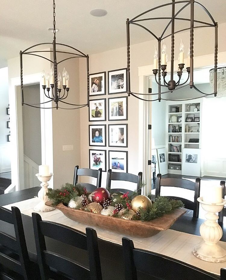 Christmas Table, Christmas Centerpiece, Dough Bowl With Ornaments,  Oversized Chandeliers, Farmhouse Dining