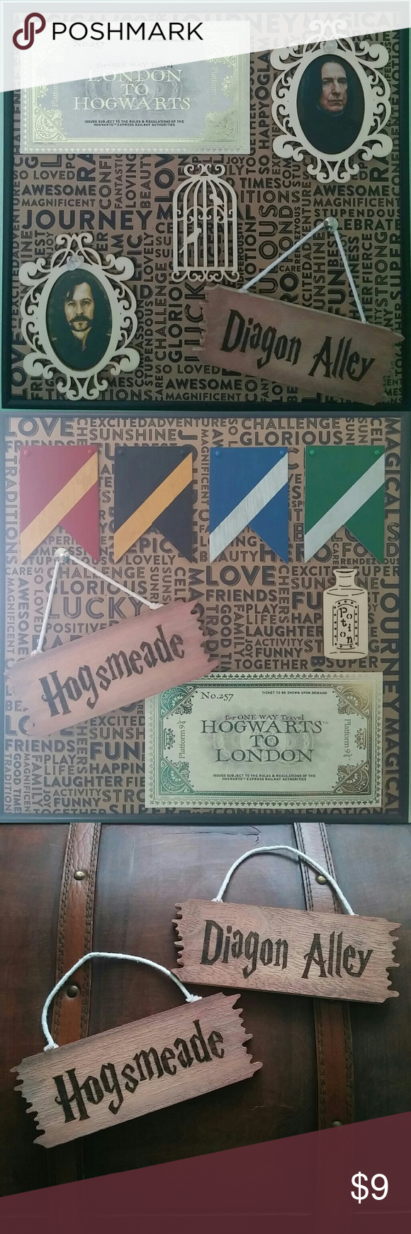 Diagon Alley Hogsmeade mini Harry Potter wood sign Diagon Alley and Hogsmeade mini signs. These are woodburned signs that were painted to look slightly aged. Dimensions: Sign is 6 inches x 2.25 inches. Hangs down at about 2.5 inches. These signs are handmade by me! Commissions are welcome! Check out my closet for more Harry Potter items! Bundle and save! ?? Harry Potter Accessories