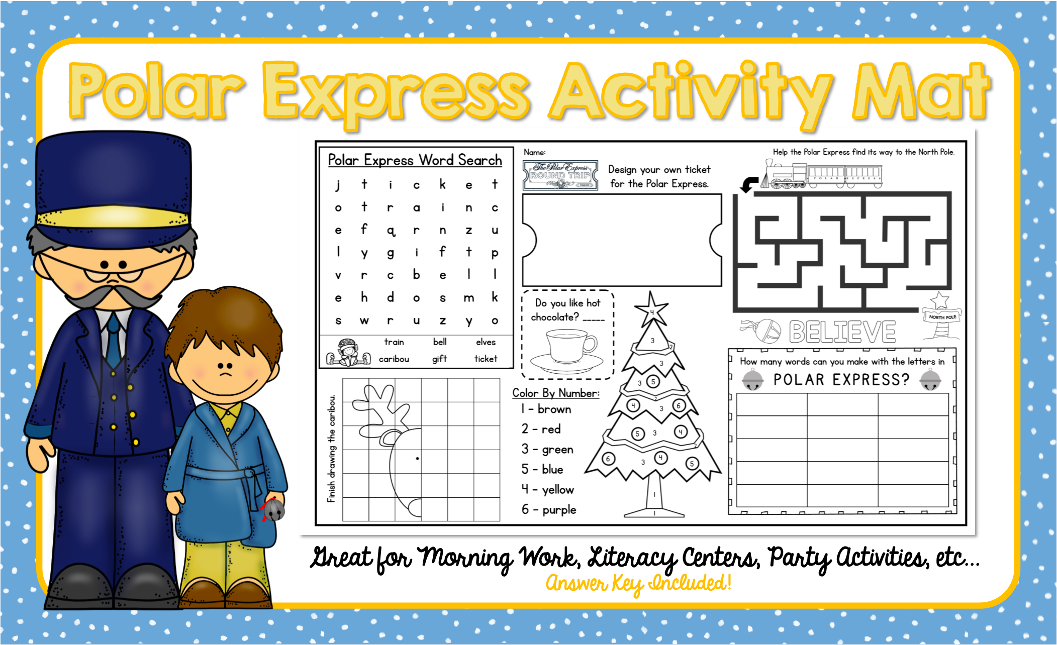 Polar Express Activity Mat A Page Full Of Fun Polar Express Activities Polar Express Activities Polar Express Activity Mat