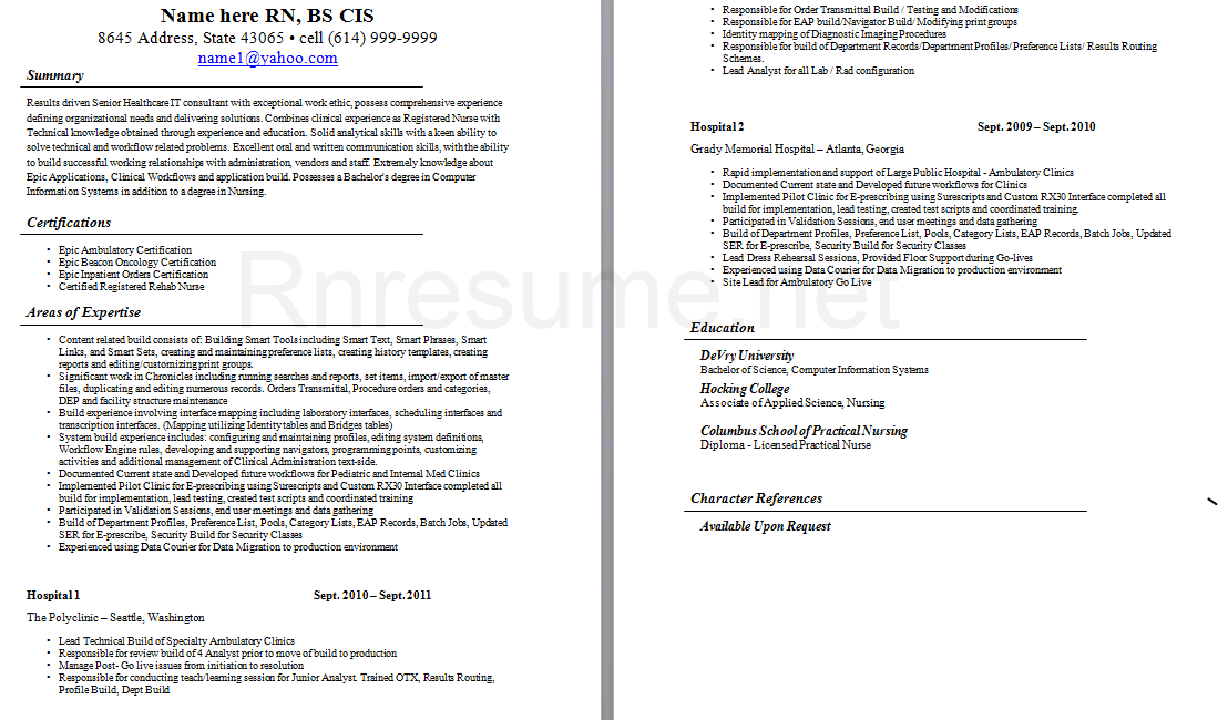 sample critical care nurse resume