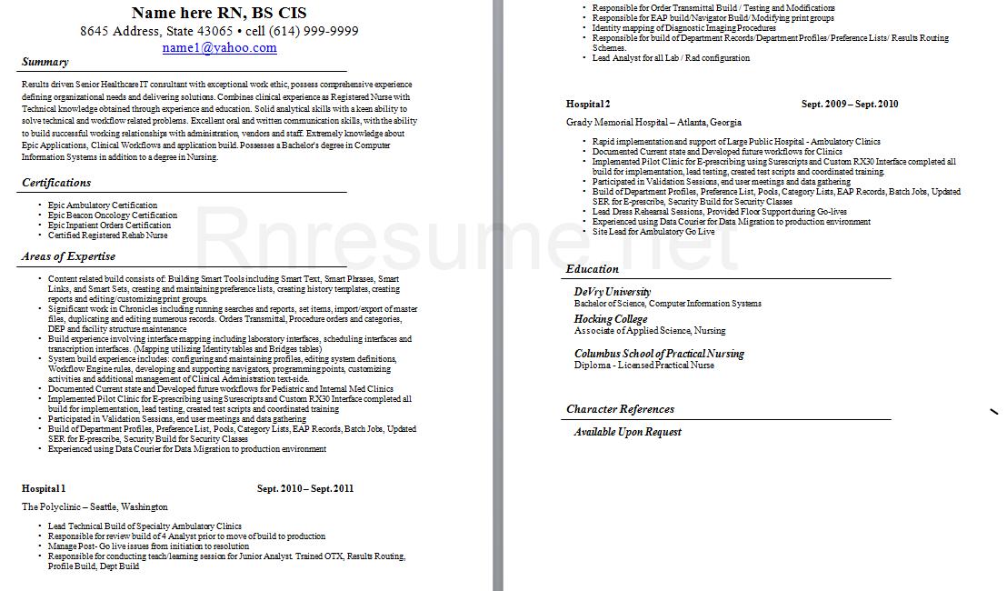 Pin by RN Resume on RN Resume  Nursing resume Lpn resume Nursing resume template