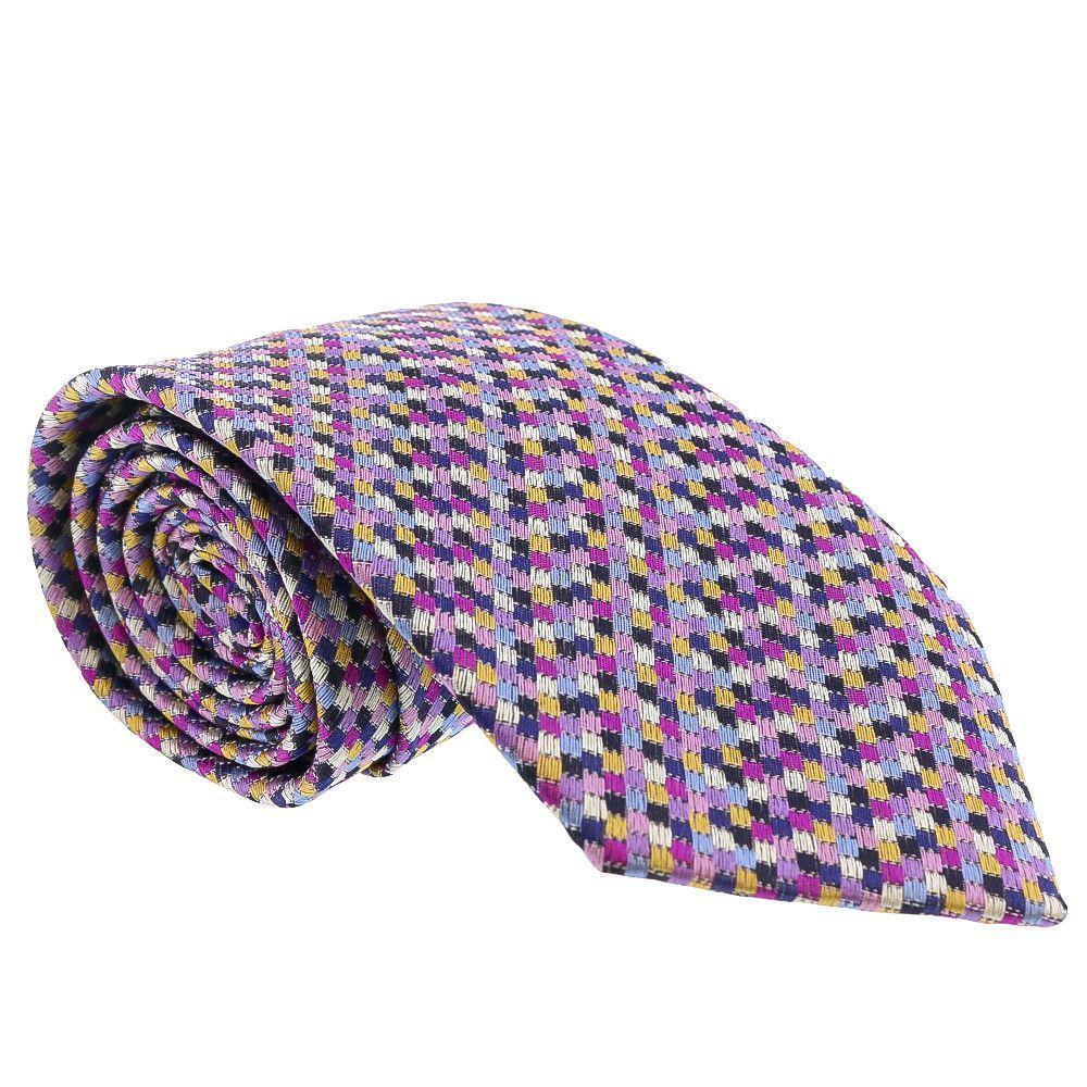 Missoni Grid Chain Link Purple Woven 100% Silk Tie