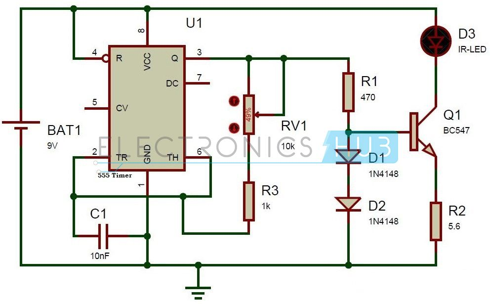 TV Remote Control Jammer Circuit using 555 Timer IC | Circuit ...