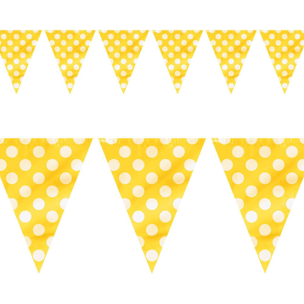 Ft yellow white polka dot spot party pennant banner bunting
