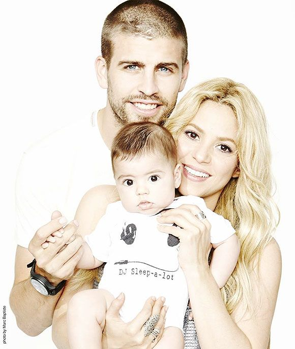 Gerard Pique and Shakira with son Milan