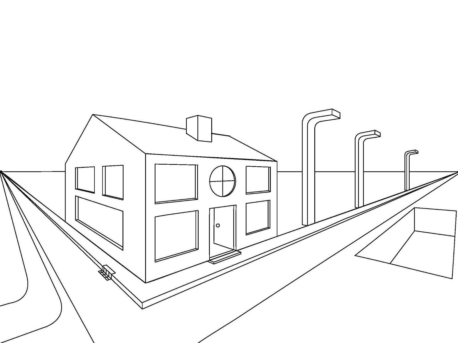 Een Straat Getekend In Perspectief Niet Heel Gedetailleerd Perspectief Straat