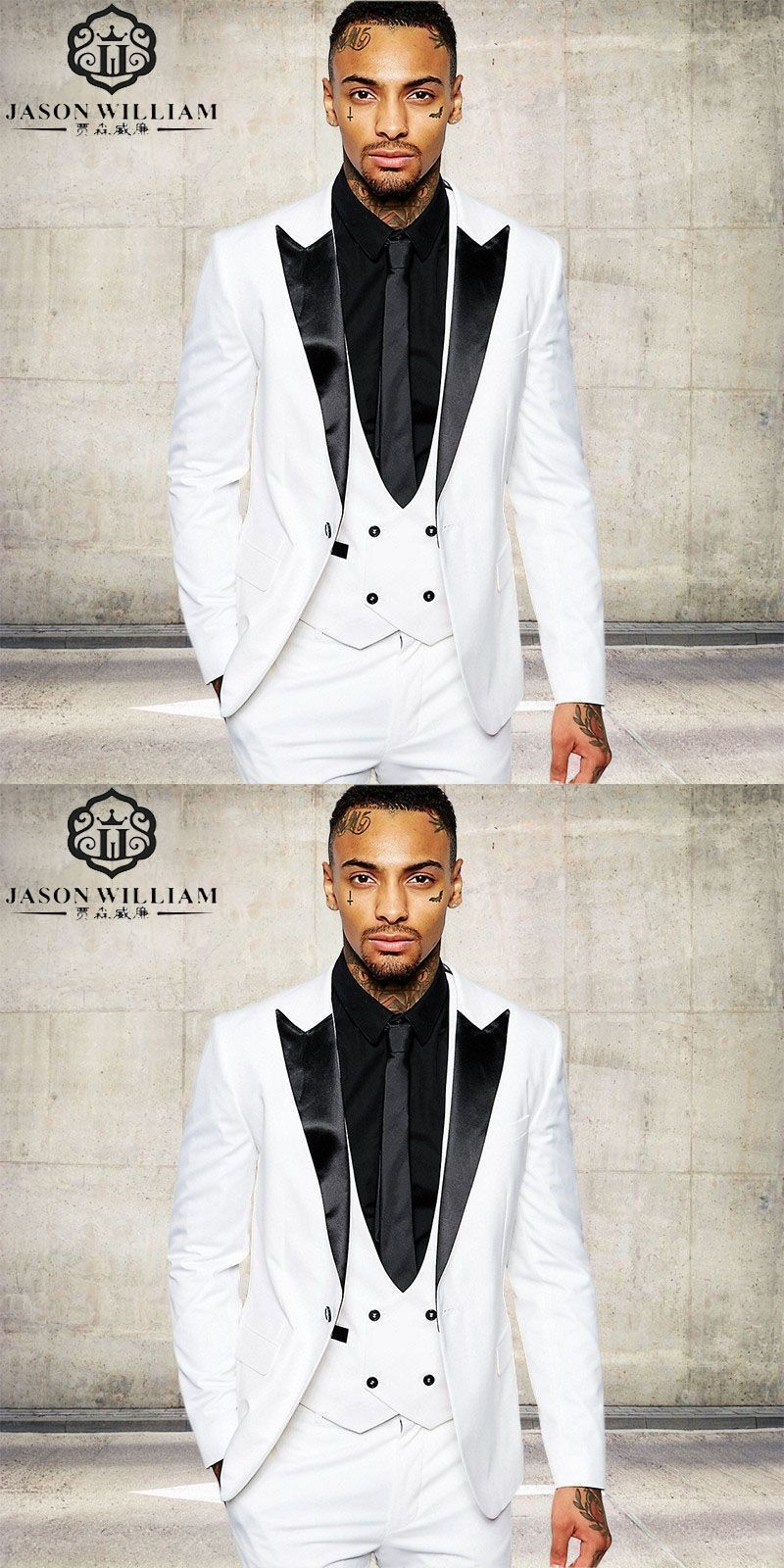 LN066 Classic quality white men suit tuxedos costume home business ...