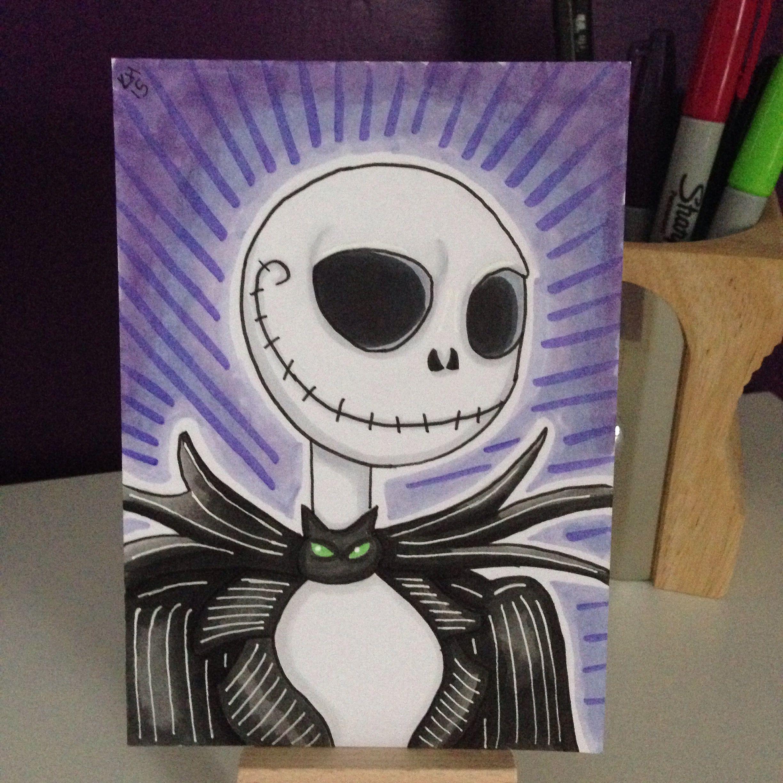 Marker Sketch Card Of Jack Skellington, From Tim Burtons The