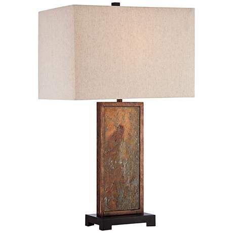Franklin Iron Works Yukon Slate Table Lamp Natural Table Lamps