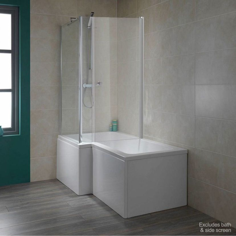 6mm over bath shower enclosure door for use with L shaped shower ...