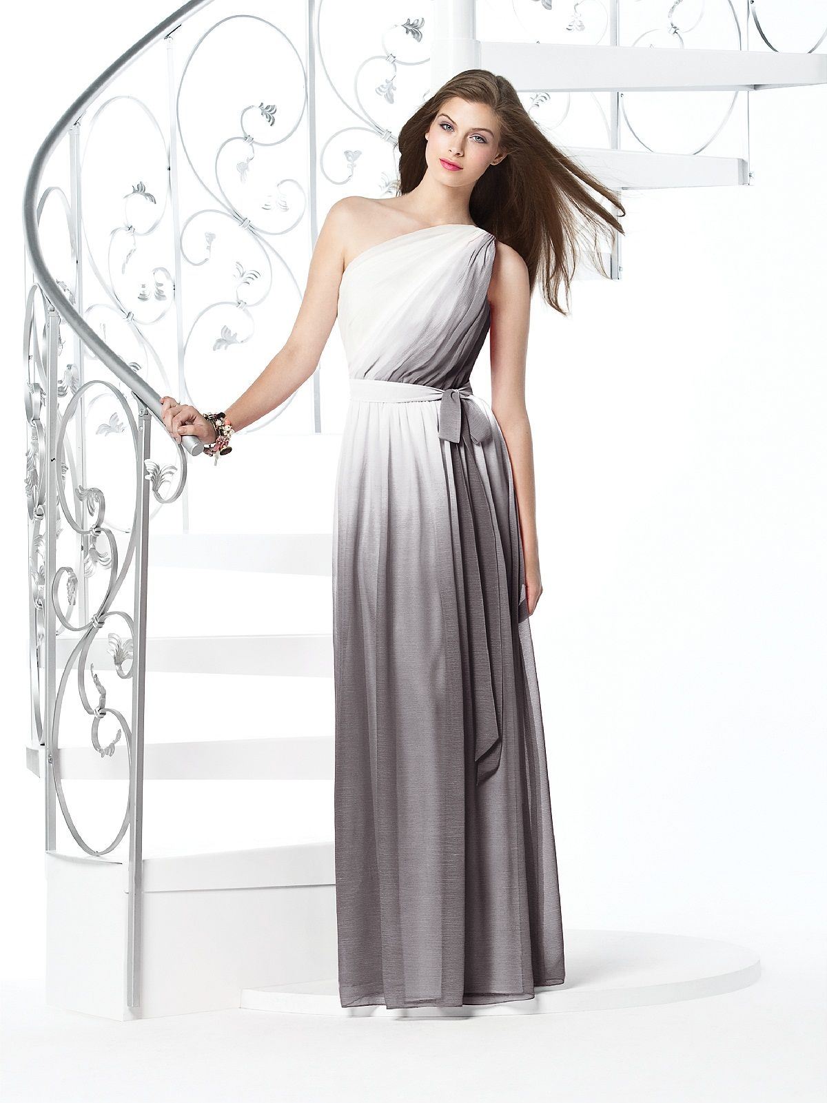 This is kind of perfect for my ombr theme bridesmaids dessy bridesmaids one shoulder full length lux chiffon dress w natural waist draped bodice and shirred skirt w matching sash sizes available and 0 ombrellifo Choice Image