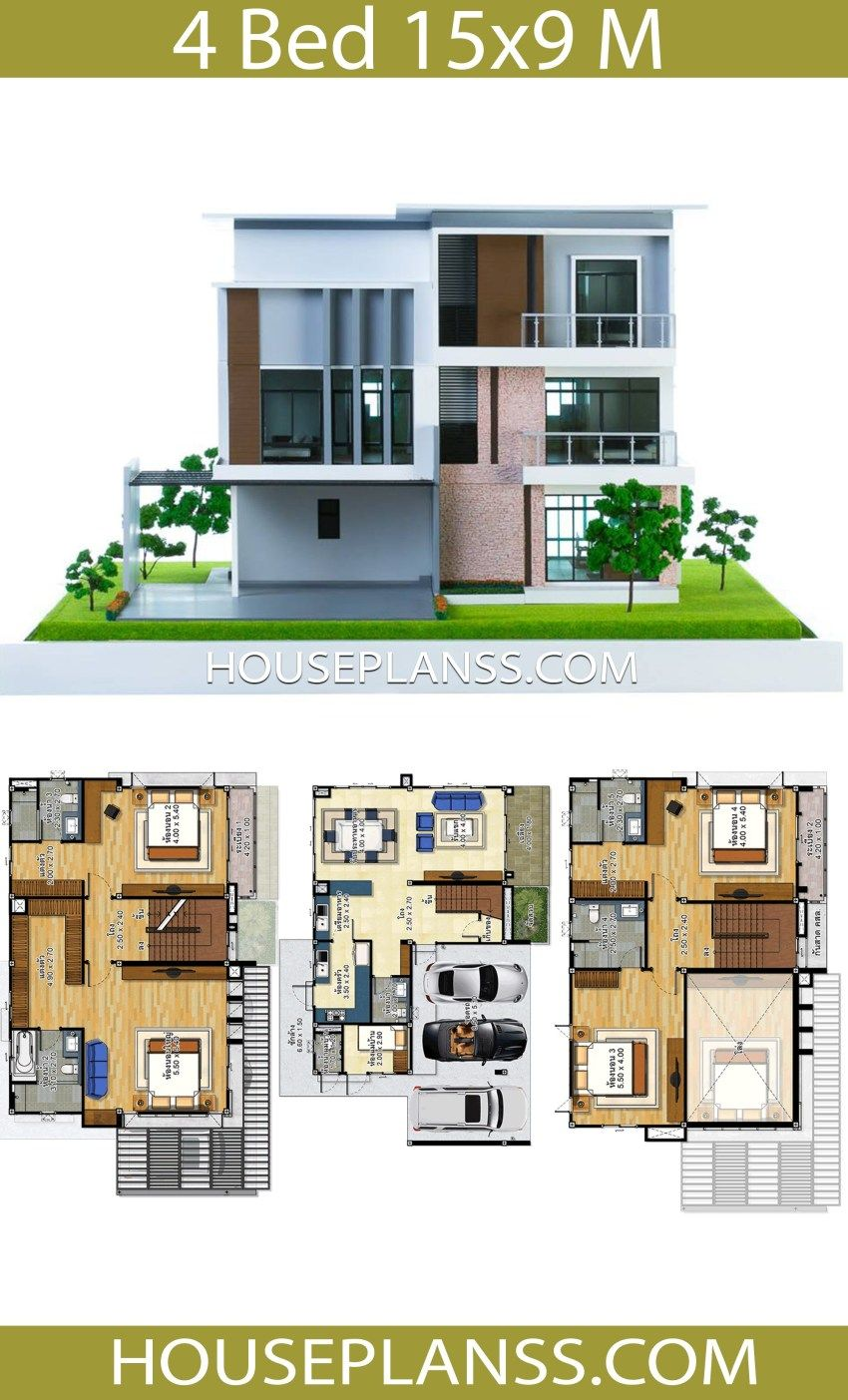 House Plans Idea 15x9 With 4 Bedrooms House Plans S House Construction Plan House Design My House Plans