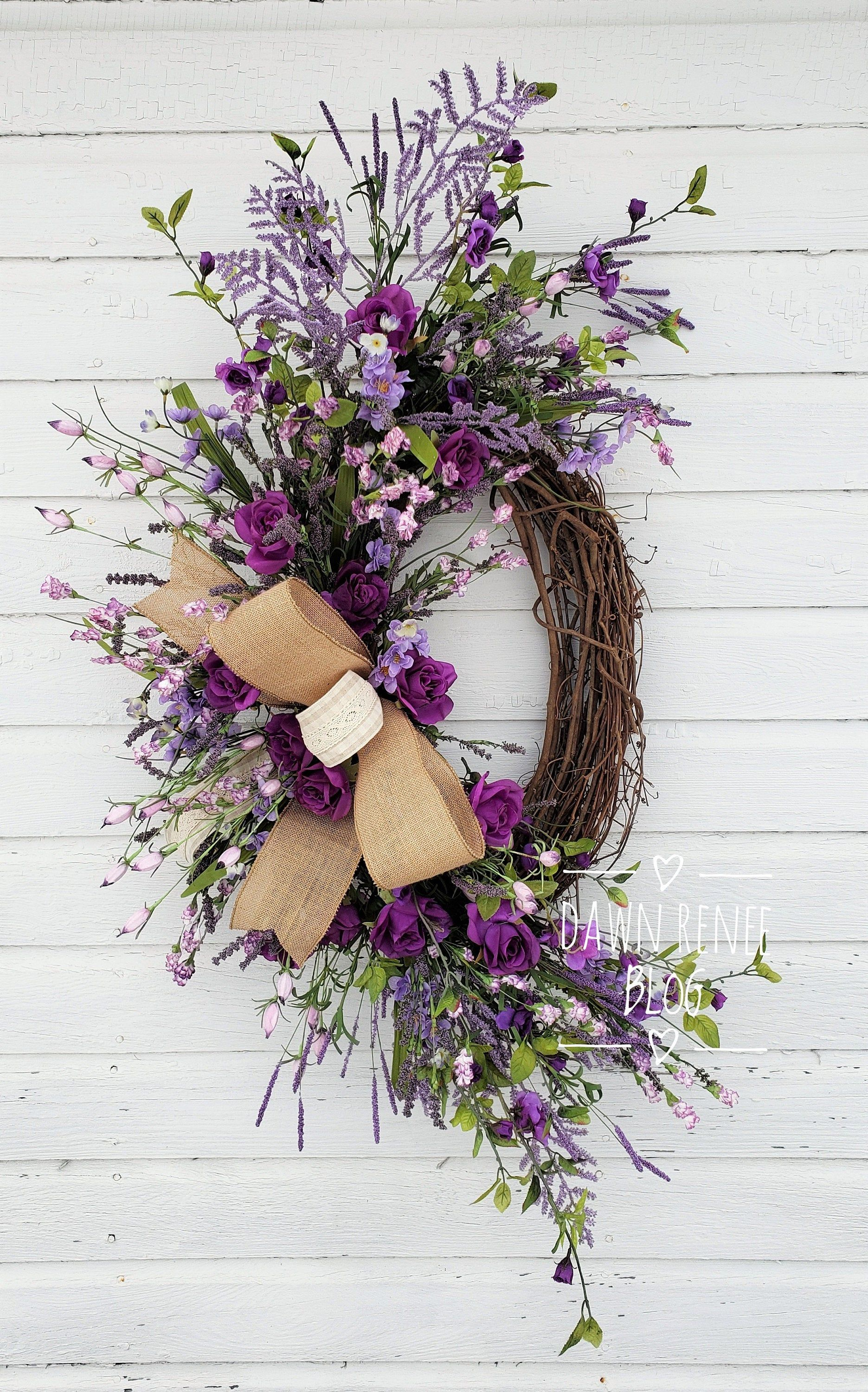 Photo of Spring lavender wreath, spring vine wreath for the front door, purple wreaths for the front door, spring flower wreath, vine wreath