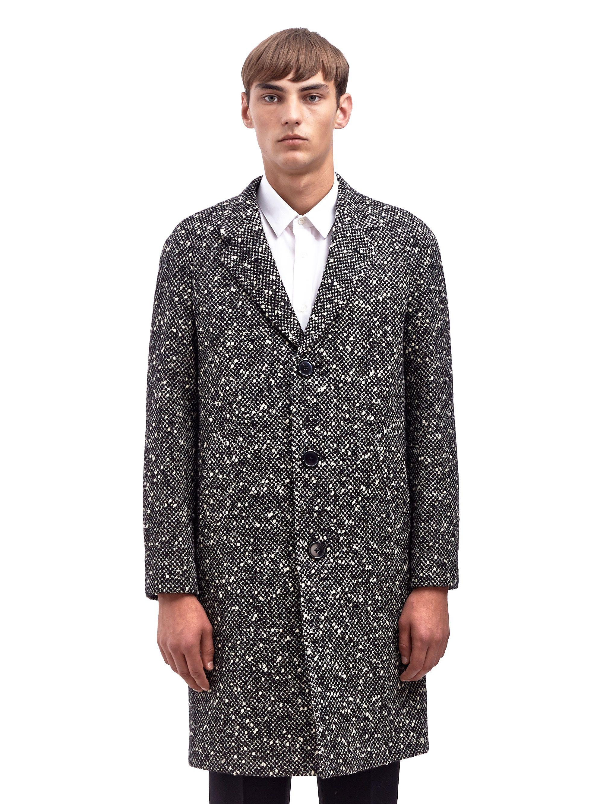 Saint Laurent Mens Classic Tweed Graphic Coat