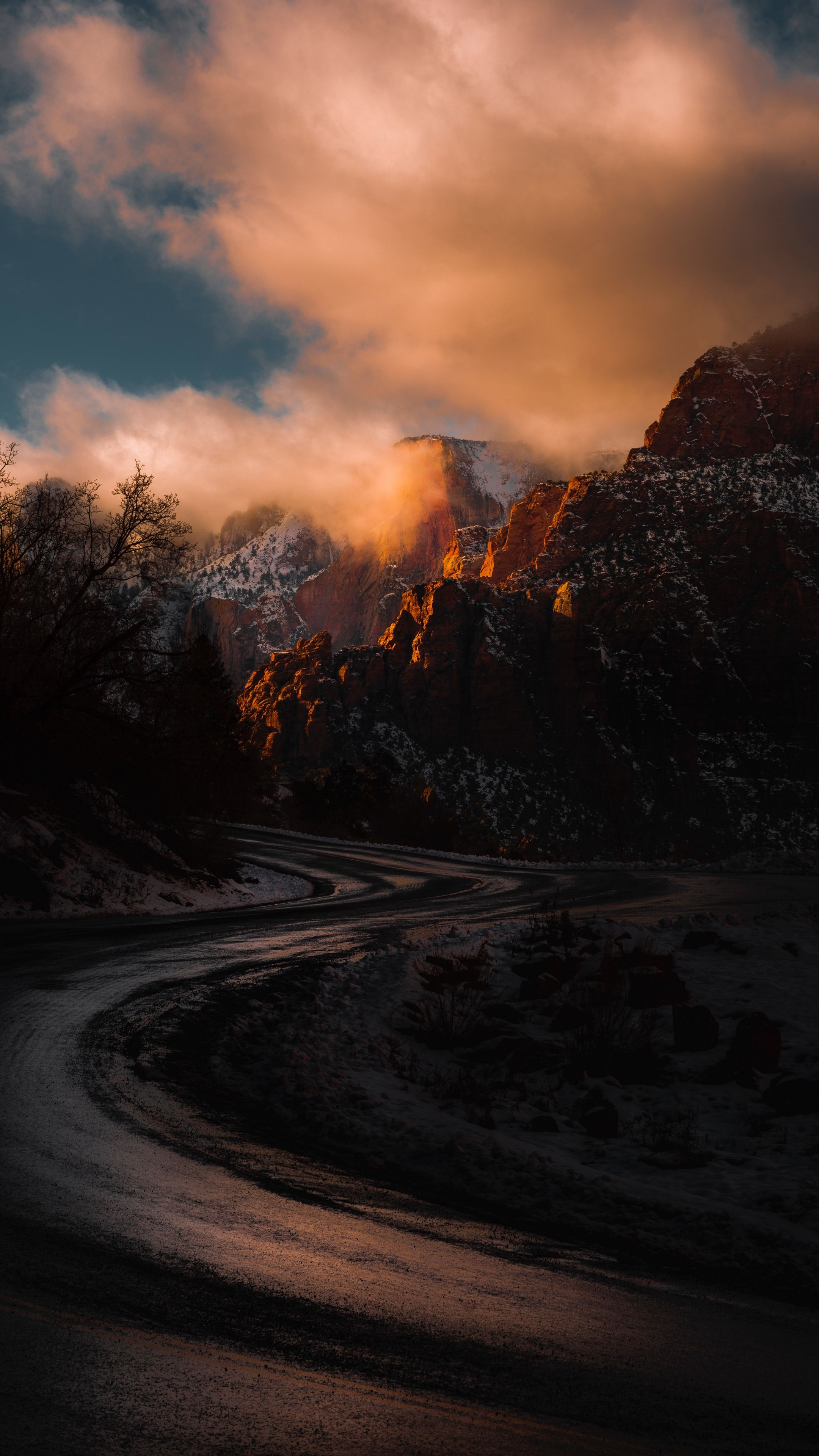 Nature mountains road turn wallpapers hd 4k