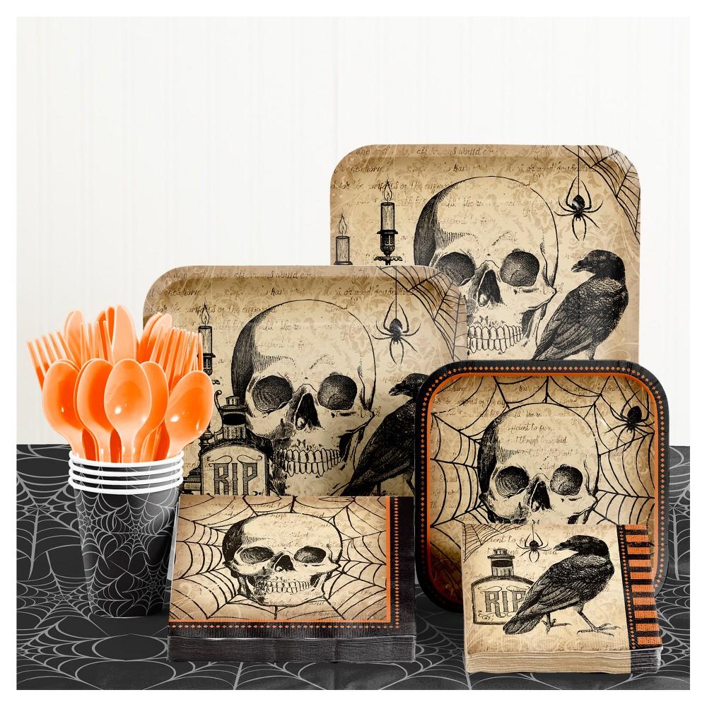 New Halloween Party Supplies Plates Cups,Spooky Eek Pumpkin Tableware Napkins