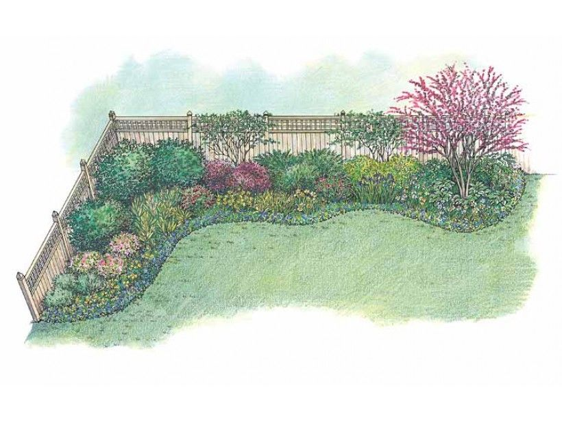 eplans landscape plan this appealing border is designed especially for a backyard that needs to be enclosed by a privacy fence here the designer chooses - Garden Ideas Along Fence Line