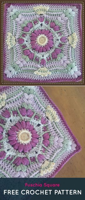 Fuschia Square Free Crochet Pattern #crochet #crafts #homedecor ...