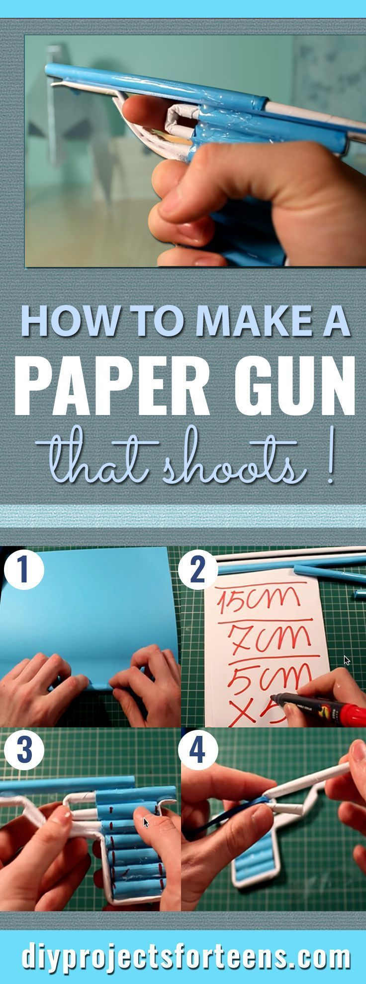 How to make a paper gun that shoots guns craft and diys for Fun at home projects