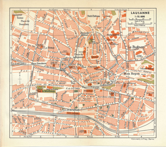 1948 Lausanne Switzerland Antique Map by Figure10 on Etsy Dco AC