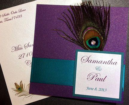Peacock wedding invitation sample purple and teal httpwww peacock wedding invitation sample purple and teal httptrembu stopboris Choice Image