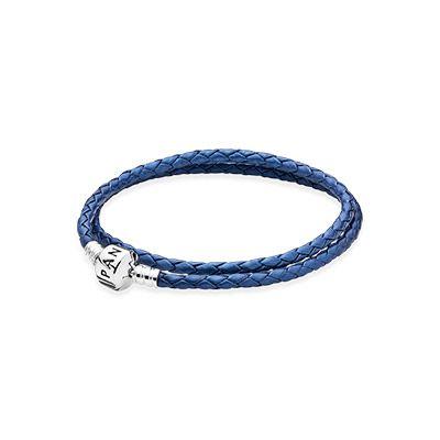 pandora lederarmband blau schimmernd
