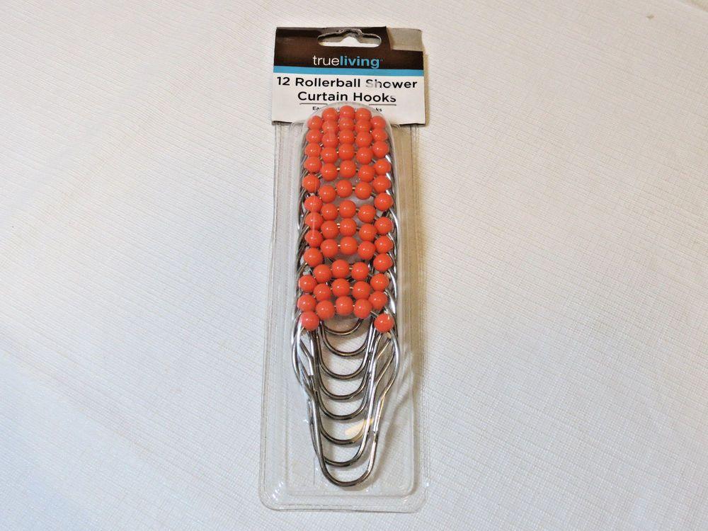New True Living 12 Rollerball Shower Curtain Hooks Easy Glide Roller Orange