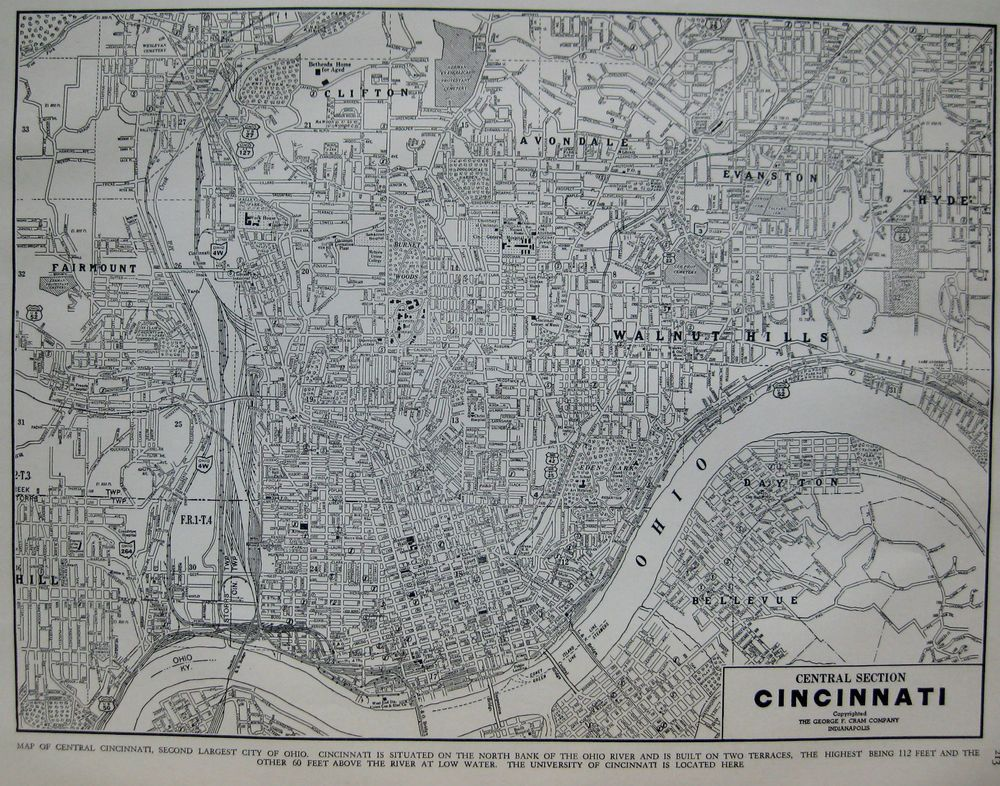 Vintage CINCINNATI Map Of Cincinnati Ohio Gallery Wall Art - Hobby lobby us map