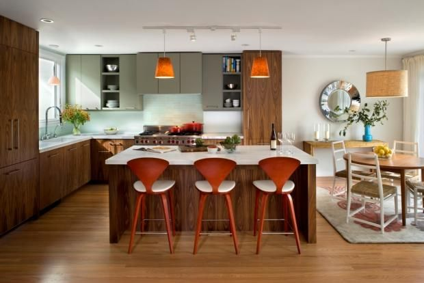 Modern L-shaped Teal kitchen, walnut cabinets, San Francisco Bay