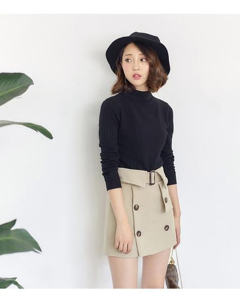 Korean fashion double buckle belt skirt - AddOneClothing - 6