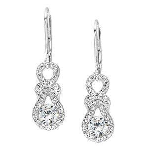 Everlon 1 2 Carat Diamond Love Knot White Gold Earrings
