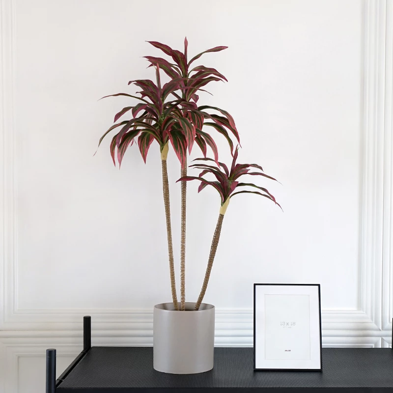 Red Palm Potted Plant 38 Tall Floralgoods Decorated Flower Pots Red Palm Plastic Flower Pots