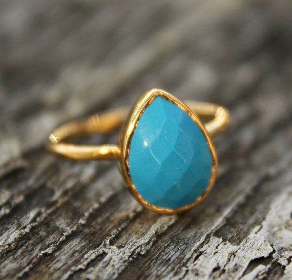 Turquoise Ring Teardrop Shape Stacking Ring Etsy Turquoise Rings Turquoise Ring Jewelry Stores Near Me