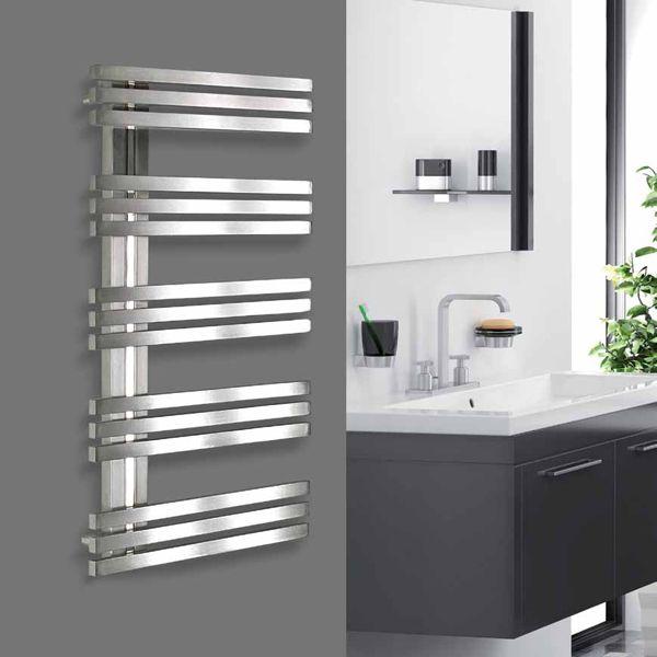 sèche-serviettes eau chaude design inox satiné 530w alias, 100x50 ... - Chauffe Serviette Salle De Bain