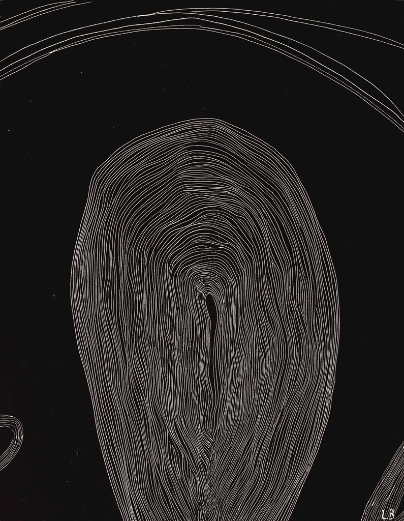 Louise Bourgeois (French-American, 1911-2010), Untitled, 2002. Engraved drawing on India ink prepared board, 35.6 x 27.3 cm.