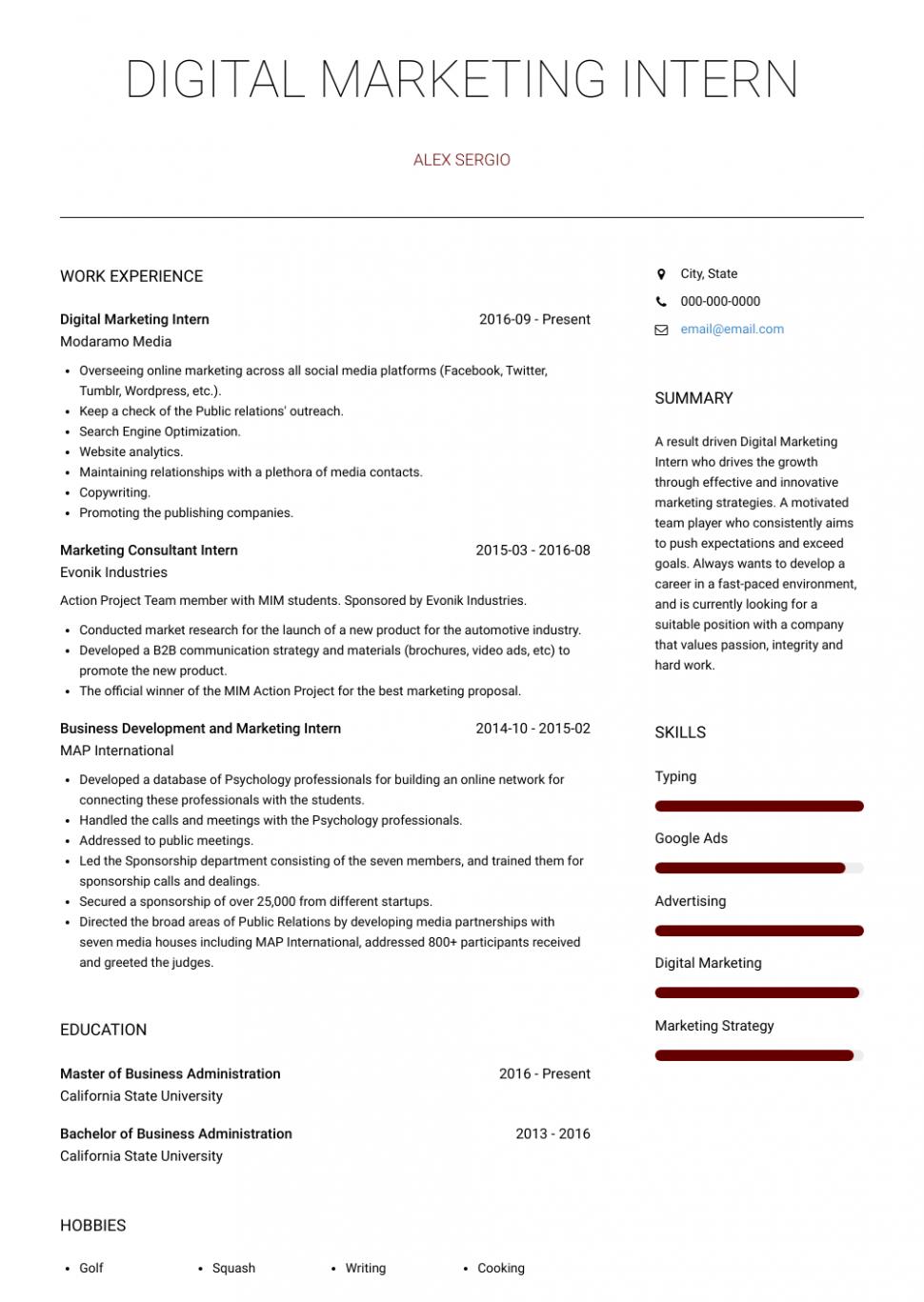 12 Advertising Pupil Resume
