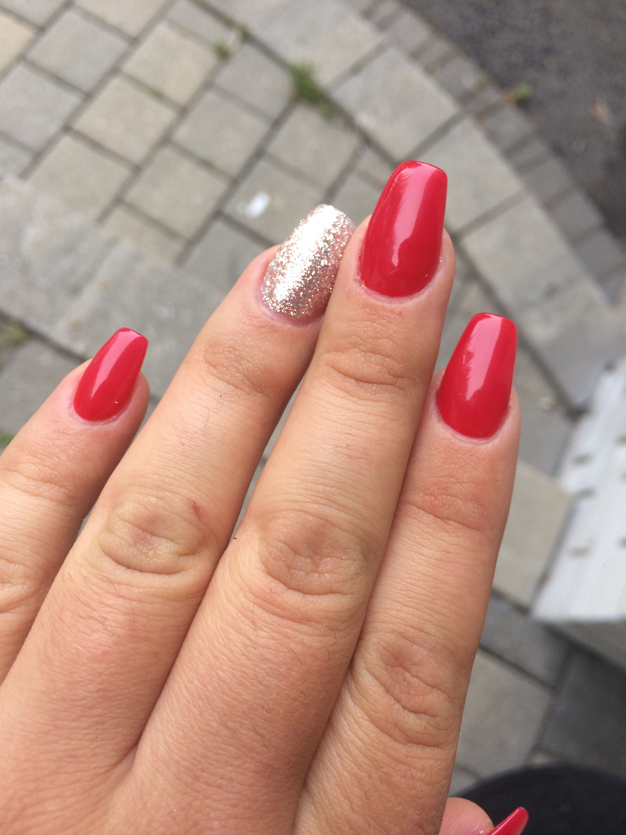Red and silver sparkles coffin shaped acrylic nails