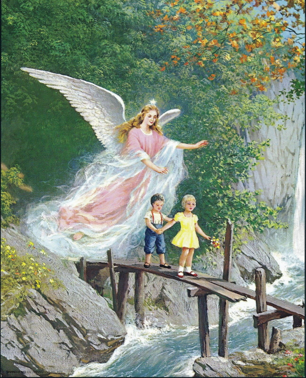 Vintage 8x10 Art Print Guardian Angel Protects Children From